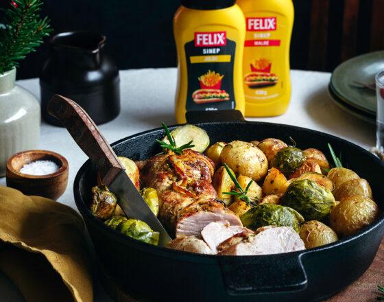 Sinepi ja meega sea sisefilee koos rooskapsaste, kartulite ja koorese sinepikastmega